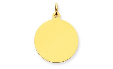 IceCarats Designer Jewelry 14k Plain .018 Gauge Circular Engravable Disc Charm