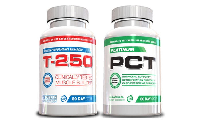 Buy It Now : Muscle Builder Stack Supplements T-250 & Platinum PCT, 30 Day Supply
