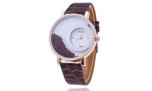 Bracelet Bangle Leather Crystal Dial Quartz Analog Wrist Watch