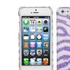 Insten Zebra Skin, White/Purple Pearl Diamante Back Case For iPhone 5s