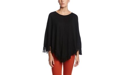 CABLE  GAUGE Long V-Neck Poncho with Fringe