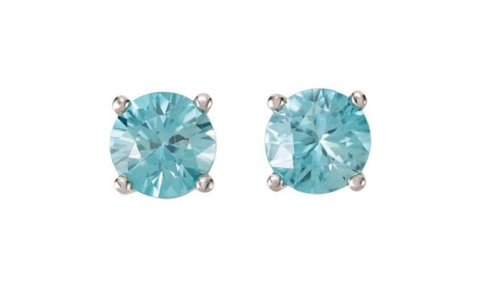 dbba516fa 14k White Gold 4 MM Round Genuine Natural Blue Zircon Stud Earrings