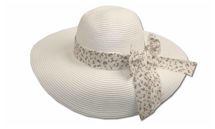 Sakkas Store Inc: Sakkas Women Sweet Floral Ribbon Accent UPF 50+ Floppy Brim Straw Hat