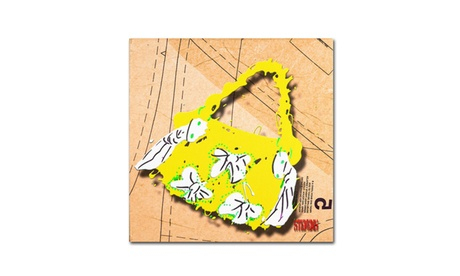 Roderick Stevens 'Bow Purse White on Yellow' Canvas Art (Goods For The Home Prints & Decals) photo