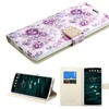Insten Flowers Folio Leather Fabric Case stand card For LG V10 Purple