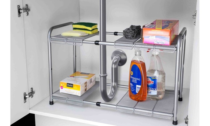 Home Basics 2 Tier Expandable Under The Sink Organizer