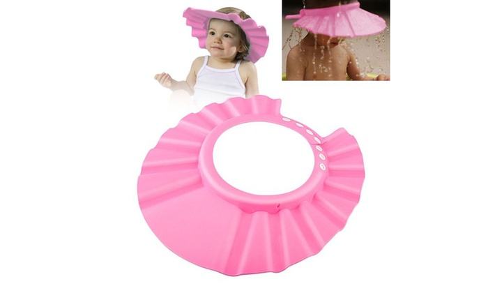 zodaca baby kid soft bath shower cap hat hair waterproof shield pink groupon. Black Bedroom Furniture Sets. Home Design Ideas
