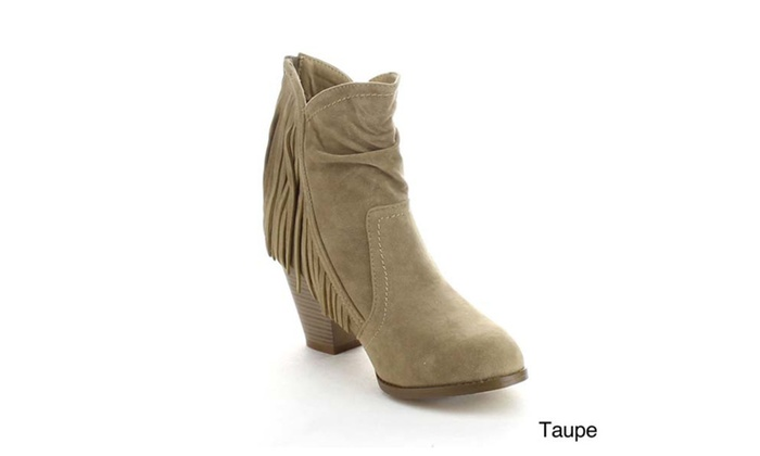 Refresh DION-03 Women's V Cut Fringe Back Zip Chunky Ankle Booties