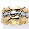 14k Gold-Plated and Rhodium-Plated Set of Three Stackable Zigzag Rings