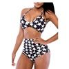 Women's Halter Printed High Waist Bikini Set Bandeau Swimwear