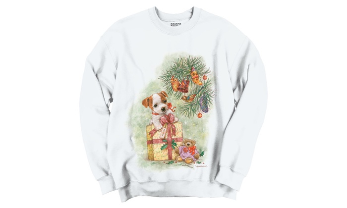 Christmas Puppy Under Tree with Gift Crewneck Sweatshirt
