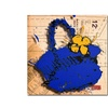 Roderick Stevens Flower Purse Yellow on Blue Canvas Print