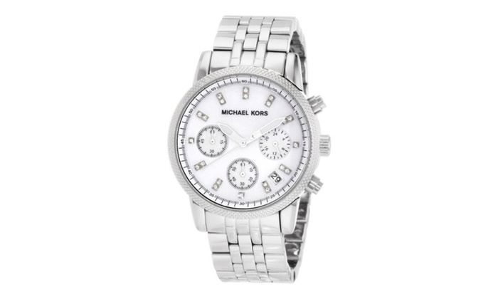 Michael kors chronograph ladies watch mk5020 groupon for Michaels craft store watches