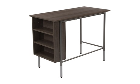 Hillside Light Applewood Finish Computer Desk with Side Storage Shelves 888f4ea4-4791-4cb7-b4bd-9f52d39b951e