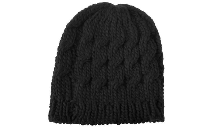 2301924e3cb Zodaca Black Women Knit Winter Warm Crochet Hat Braided Beanie Cap ...
