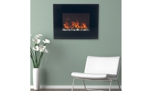 Northwest Black Glass Panel Electric Fireplace with Wall Mount & Remote