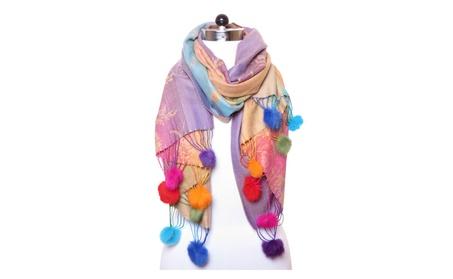 Women's Fashion Pashmina Scarf Cashmere Satin Shawl Wraps Rainbow Pom bd3d508d-0f5e-490a-b7cc-e412f03fb524