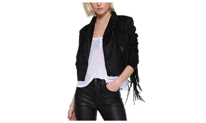 Women's Suedette Long Sleeve Fringe Tassel Faux PU Leather Jacket Coat Outerwear