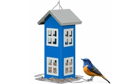 Costway Outdoor Wild Bird Feeder Weatherproof House Design Garden Yard Blue (Goods For The Home Patio & Garden Bird Feeders & Food) photo