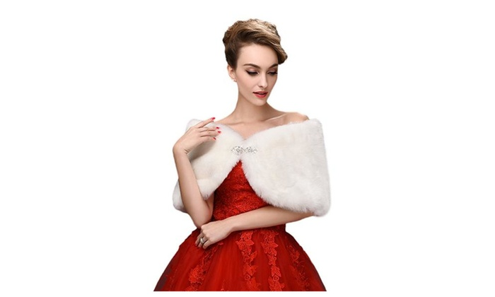 Brides Unique Faux Fur Wedding Shawl perfect For wedding/party/show - White / One Size