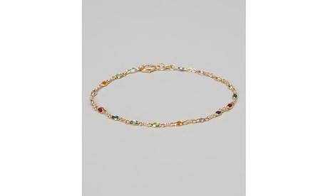 18K Gold Plated Dark Multi Color Crystals Oval Anklet Bracelet