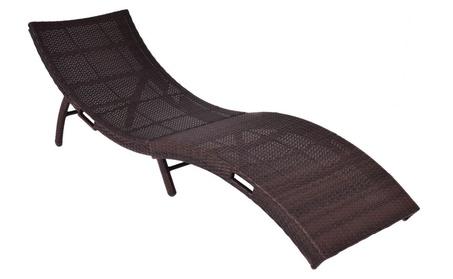 Mix Brown Folding Patio Rattan Chaise Lounge Chair Outdoor Furniture 1e60328b-fe9c-44c9-9ca8-d821b891c96e