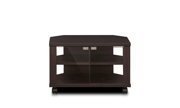 furinno indo 3 tier petite tv stand with glass doors and casters espresso groupon. Black Bedroom Furniture Sets. Home Design Ideas