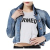Women's Slim Vintage Distressed Bleached Croppped Denim Jacket