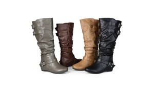 Journee Collection Womens Wide-Calf Buckle Slouch Low-Wedge Boots
