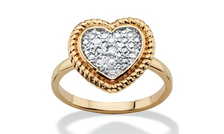 Diamond Accent Two-Tone Heart Ring 18k Gold-Plated 3ee4da61-f87c-4dd3-8c84-96576777c931