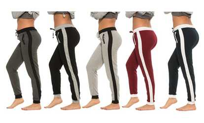 30a35da689fc7 Shop Groupon Women s Sweatpants with Side Stripe (5-Pack)