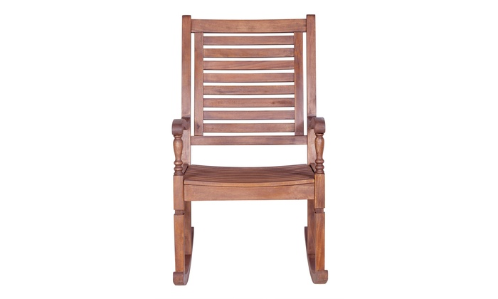 Admirable Offex Solid Acacia Wood Rocking Patio Chair Groupon Ibusinesslaw Wood Chair Design Ideas Ibusinesslaworg