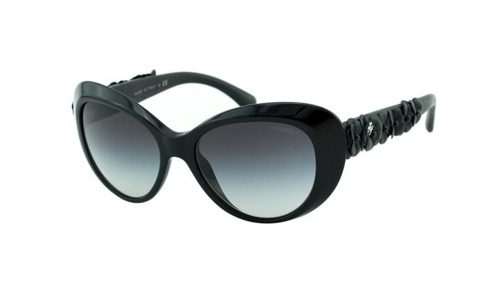 61cc9cadf4a88 New CHANEL Camelia 5318Q Black Cat Eye Lambskin Flower 2015 Sunglasses
