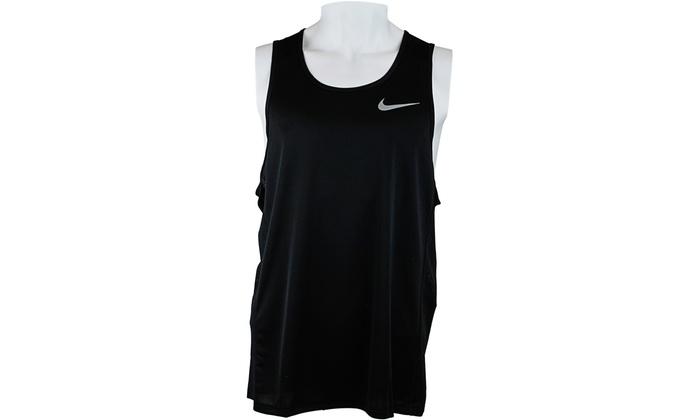 4ded1c8e4fa2f Nike Men s Black Miler Dry-Fit Running Tank Top Sleeveless   Tops ...