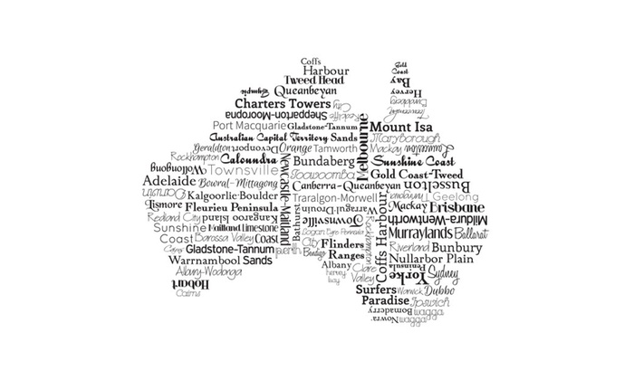 australia map print art travel map typography housewarming gift