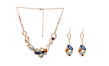 DOWNTON CHIC ROSE GOLD NECKLACE & EARRING SET