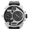 Diesel Men's Big Daddy Black Leather Silver Dial Watch DZ7125