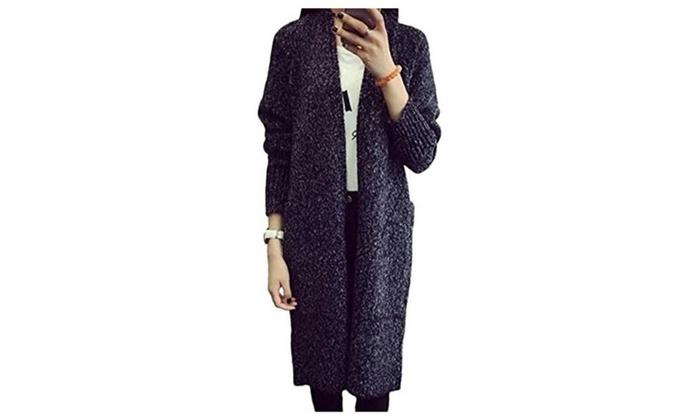 Women's Winter Long Sleeve Loose Long Sweater Cardigan