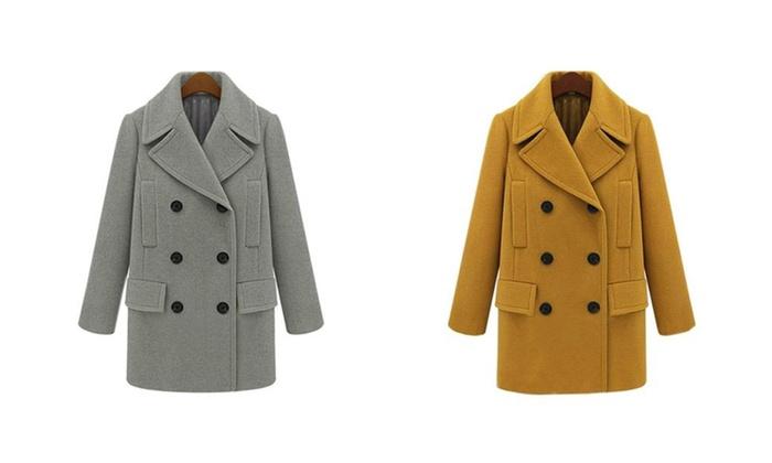 Women's Fashion Big Lapel Double-Breasted Woolen Cloth Coat
