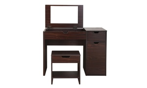Huang Walnut Multi-Storage Vanity Table with Mirror and Stool