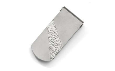 IceCarats Designer Jewelry Titanium Pebble Textured Money Clip