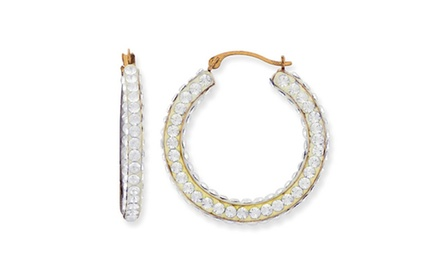 IceCarats Designer Jewelry 14KT Two-Tone 25Mx4M Round 4- sided Hoop Earrings