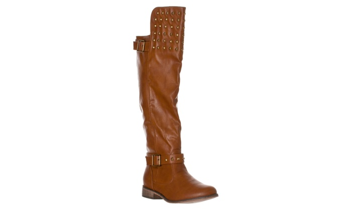 Riverberry Women's 'Rider-23' Studded Buckle Riding Boots, Tan