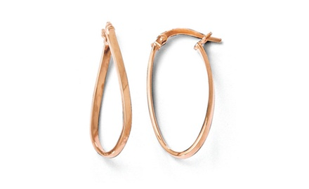 IceCarats Designer Jewelry Leslies 14K and Rose Gold-plated Polished Oval Hoop Earrings