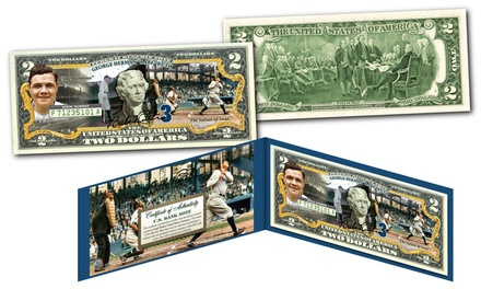 Babe Ruth Commemorative Colorized U.S. $2 Bill