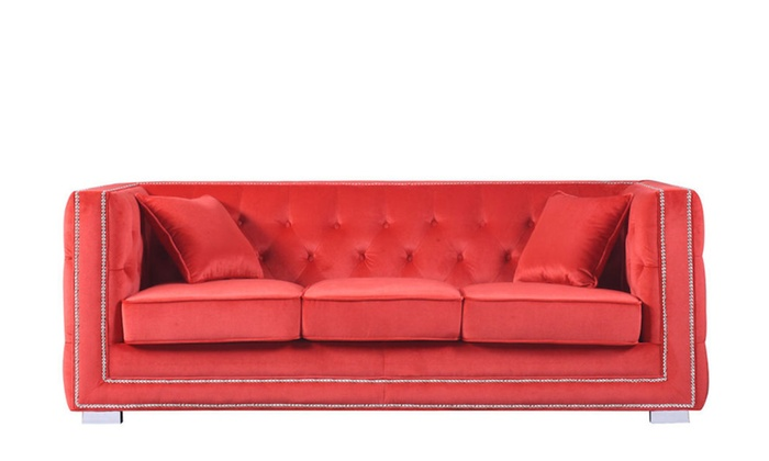 Red Modern Tufted Velvet Fabric Sofa With Nailhead Trim Sofa