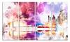 Magic Colorfull City art Night Metal Wall Art 48x28 4 Panels