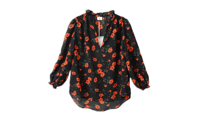 Kinsmanfashion: Women's Long Sleeve Ribbed Hem Fashion Chiffon Blouse  - As Picture / One Size