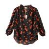 Women's Long Sleeve Ribbed Hem Fashion Chiffon Blouse