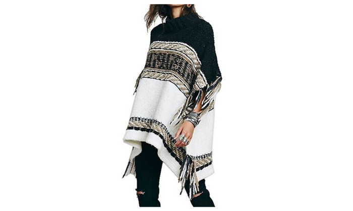 Women's Ethnic Pattern Batwing Sleeve Fringed Knit Sweater Cape